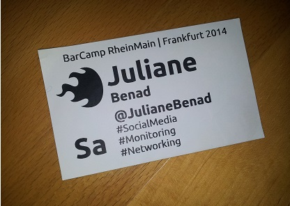 Barcamp RheinMain Namensschild Juliane Benad Die Maintalerin
